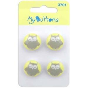 Пуговицы Yellow & Grey Owls   коллекция  My Buttons от BLUMENTHAL LANSING