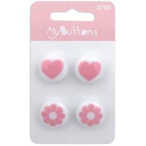 Пуговицы Pink Hearts & Flowers   коллекция  My Buttons от BLUMENTHAL LANSING