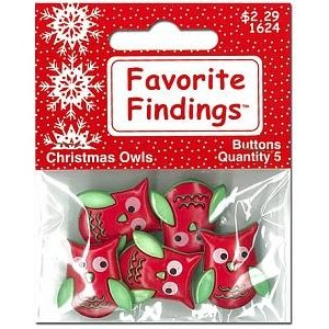 Набор пуговиц Christmas Owls от Favorite Findings