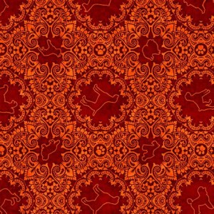 Ткань DOG MEDALLION ORANGE Quilting Treasures