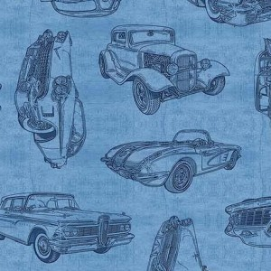 Ткань VINTAGE CAR SKETCHES BLUE MOTORIN' Quilting Treasures