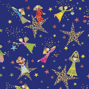 Ткань HOLIDAY MINIS ANGELS & STARS Royal, Quilting Treasures