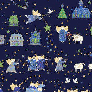 Ткань HOLIDAY MINIS NATIVITY Navy, Quilting Treasures