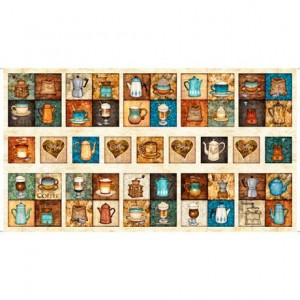 Ткань CAFE ALL DAY COFFEE PATCHES Stone, Quilting Treasures