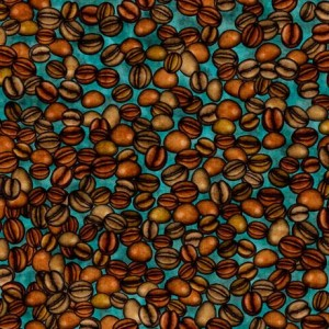 Ткань CAFE ALL DAY COFFEE BEANS Teal, Quilting Treasures
