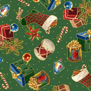 Ткань PRESENTS & STOCKINGS Green, Quilting Treasures