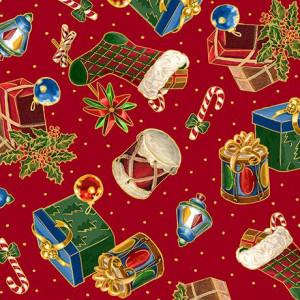 Ткань PRESENTS & STOCKINGS Red, Quilting Treasures