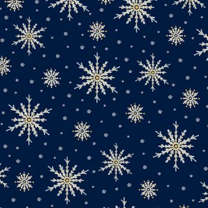 Ткань SNOWFLAKES Navy, Quilting Treasures