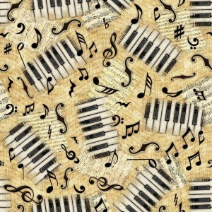 Ткань ENCORE Keys/Notes Light Butterscotch