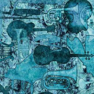 Ткань ENCORE Instrument Silhouettes Aqua