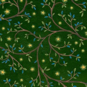 Ткань LEAF VINE & STARS Green, Quilting Treasures
