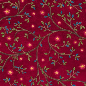 Ткань LEAF VINE & STARS Red, Quilting Treasures