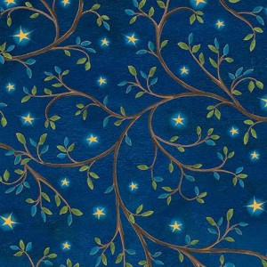 Ткань LEAF VINE & STARS Midnight Blue, Quilting Treasures