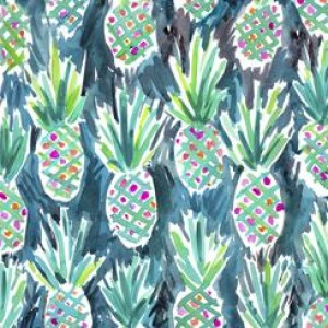 Ткань WILD PINEAPPLES TEAL Quilting Treasures