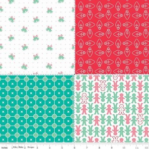 Ткань Cozy Christmas Fat Quarter Panel Red Riley Blake