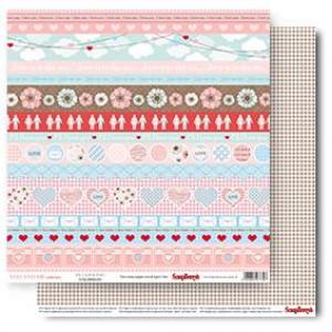Двухстороняя бумага размером 30,5*30,5 см Про Любовь P. S. Я тебя люблю от Scrapberrys