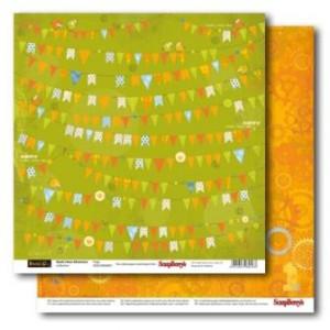 Двусторонняя бумага 30 * 30  Новые приключения Басика Флажки от ScrapBerry's