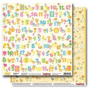 Двусторонняя бумага 30,5 *30,5 см Веселое детство Первые цифры от ScrapBerry's
