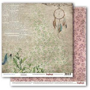 Двухстороняя бумага размером 30,5*30,5 см  Бохо Ловец Снов от Scrapberrys