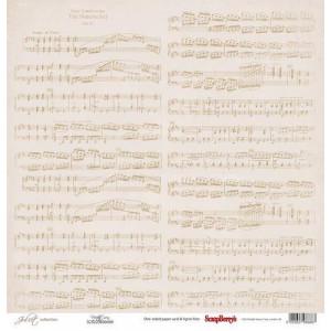 Одностороняя бумага 30,5 *30,5 см Джульетта Ноты от ScrapBerry's