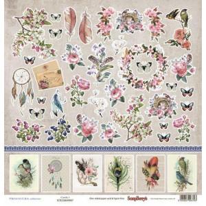 Односторонняя бумага размером 30,5х30,5 см Бохо Карточки 1 от Scrapberrys