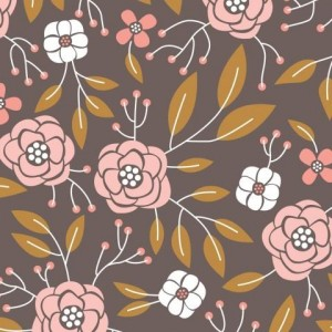 Ткань 2240401 Magnolia Flowers in Dark Taupe Alisse Courter