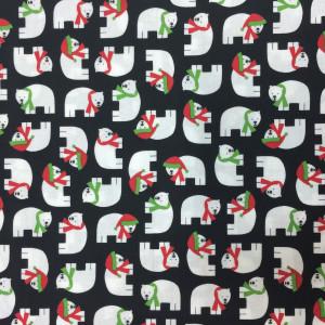 Ткань Little Polar Bears Jingle Black, Robert Kaufman