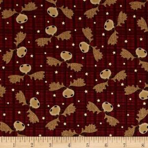 Ткань Cranberry Moose is Loose Benartex