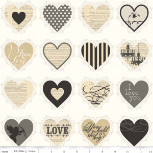 "Ткань C4202 Black из коллекции   ""Lost & Found Love"" от Riley Blake"
