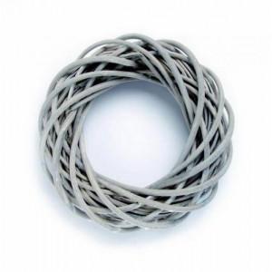 Венок из ивовых прутьев серый 25 см