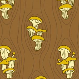 Ткань FOREST SPIRIT Oyster Mushrooms Brown Windham Fabrics